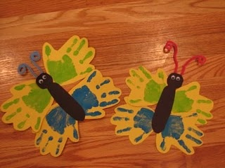 Handprint Butterflies. Cute idea- maybe add clothespin and magnet for fridge magnet to hang work on?