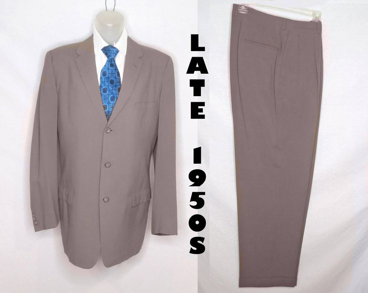 Full Suit For Men Mid Century Vintage, Taupe Trousers with Cuffs, Pleated Pants, Matching Jacket, Mens Dress Suits for Spring, Office Suit by LunaJunctionVintage on Etsy