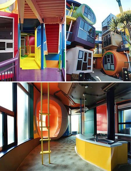 The most recent work from New York based designers Arakawa and Gin, Reversible Destiny Lofts is an unusual apartment block based in Mitaka, Tokyo. They are eye-catching brightly painted lofts that look like a McDonald's play ground through the eyes of someone on LSD. The architecture looks like the aftermath of a size 3 earthquake, a little shaken and lopsided. The price? US$750,000 each.