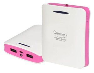 Quantum Q104PIN 10400 mAh Power Bank Pink for Smart Phone, IPhone, IPad, Mp3, Mp4, Gps, Psp