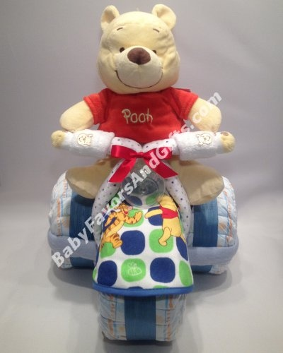 Winnie the pooh tricycle diaper cake, winnie the pooh baby shower gift