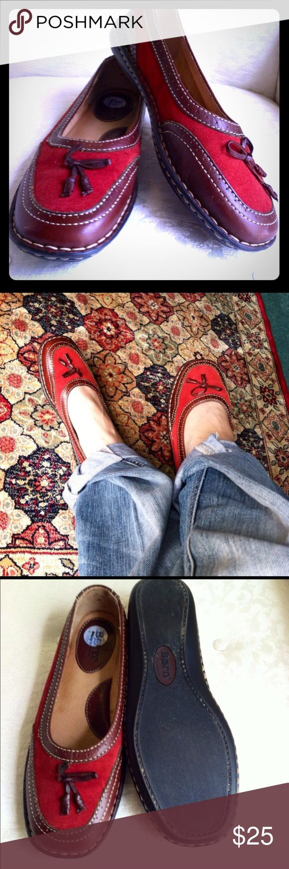 BORN Maroon & red flats Maroon & red flats BORN size 7.5 very comfortable shoes. Leather and red suede upper. EUC Born Shoes Flats & Loafers
