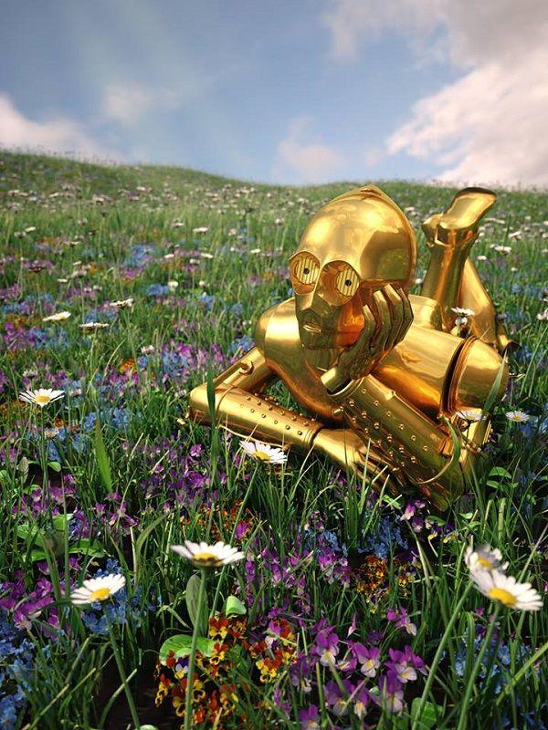 一時休戦?スター・ウォーズのキャラクターがお花畑でくつろぐ面白フォトアート - Yahoo! BEAUTY