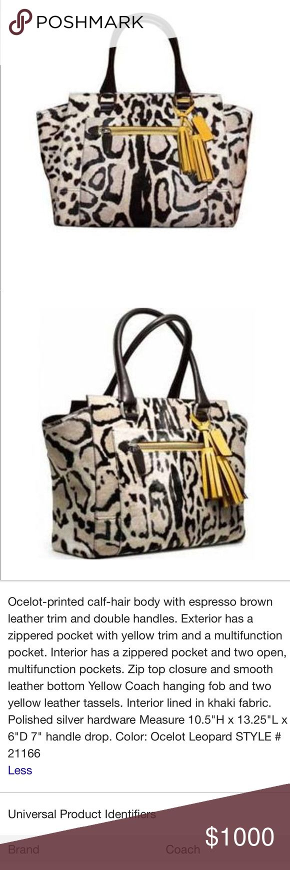 RARE - Coach Legacy Candace Ocelot Large Tote Ocelot Haircalf Coach Legacy Candace Large Tote with Matching Yellow Leather Check Wallet // NO TRADE OFFERS PLEASE // SERIOUS BUYERS ONLY // PRICE FIRM // FREE SHIPPING Coach Bags