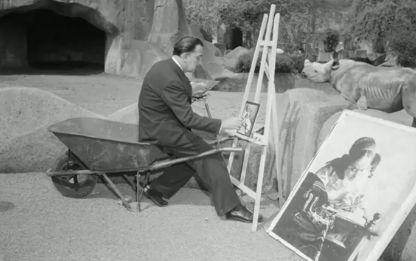 DALI 1954 au Zoo de Vincennes copiant la dentellière de Vermeer