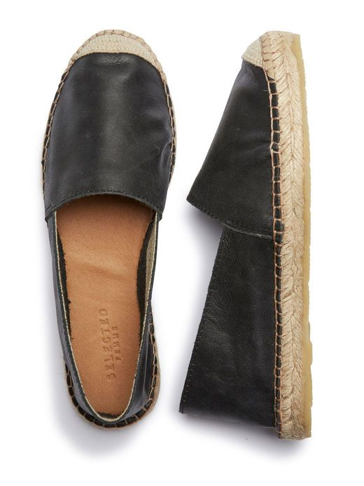 LEATHER - ESPADRILLES, Black