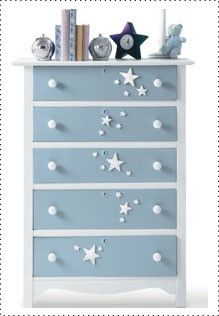 Take a hand-me-down dresser and transform it with spray paint. Perfect for a little one's bedroom! #DIY