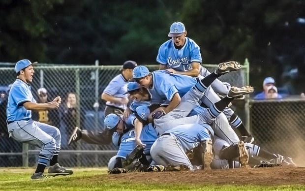 Members of the Lansing Catholic baseball team celebrate on the ...