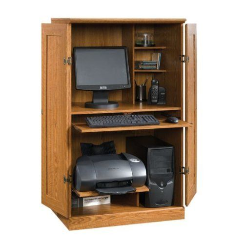 Computer desk armoire oak finish by tdm comes ready to assemble with detailed - Computer armoires for small spaces property ...