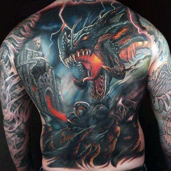 Fire Breathing Dragon Guys Full Back Tattoos