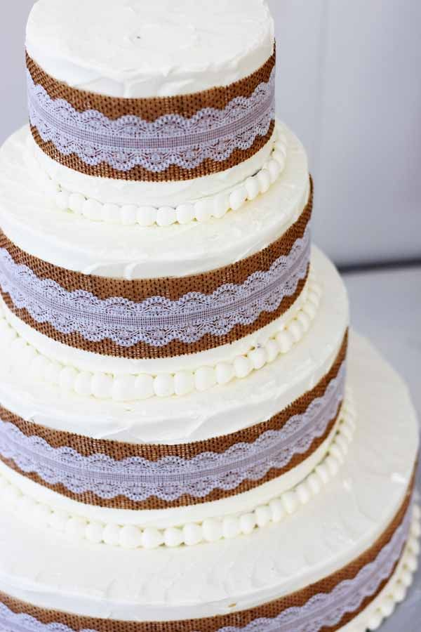 wedding cakes northern new jersey%0A C    burlap and lace details on white buttercream wedding cake