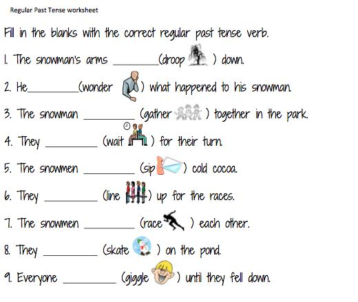 Regular past tense verb activities