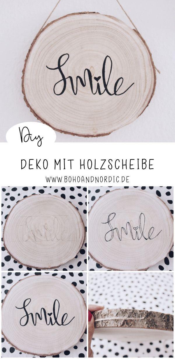 DIY Deko mit Holzscheibe - eine kreative Wanddeko zum Nachmachen