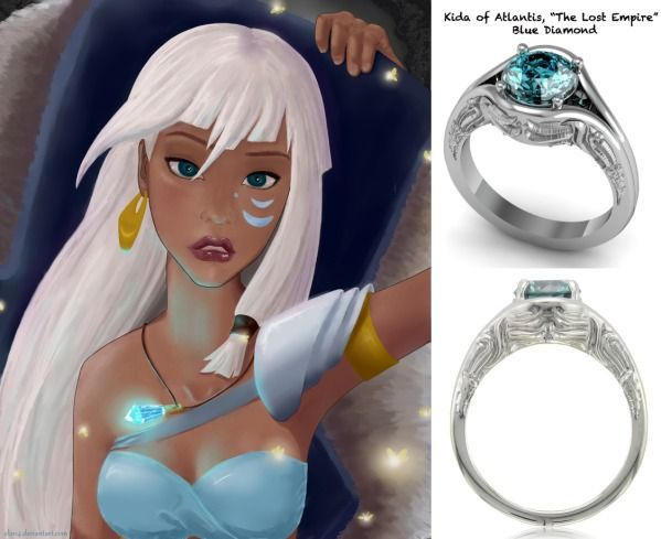 rings inspired by disney princesses kida of atlantis blue diamond setting embossed with - Disney Engagement Rings And Wedding Bands