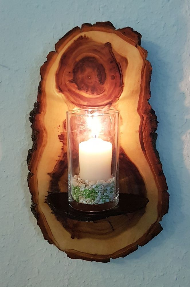 Wanddeko Kerzenhalter Wandregal Holz Pappel Baumscheibe Handarbeit Unikat geölt in Möbel & Wohnen, Dekoration, Wandbehänge | eBay!