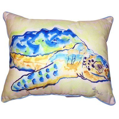 "Highland Dunes Tanna Loggerhead Turtle Indoor/Outdoor Lumbar Pillow Size: 11"" x 14"""
