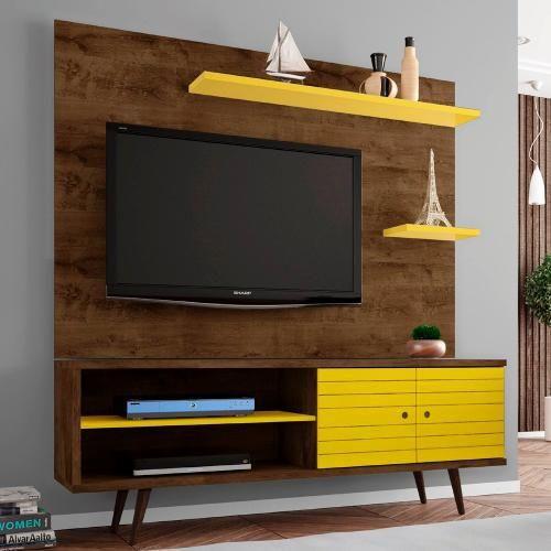 Foto 1 - Rack Estilo Retrô Vintage Com Painel Para Tv De Até 55 Polegadas - Madeira Rústica  Amarelo