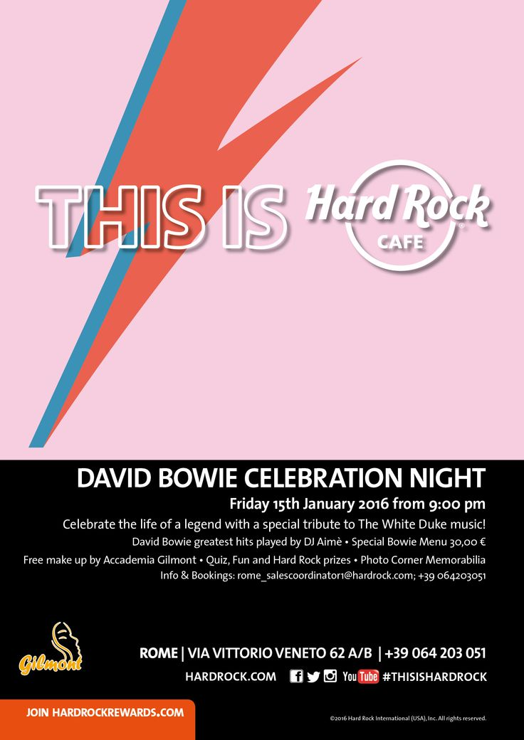 #DAVIDBOWIE CELEBRATION NIGHT - Let's spend the time #together ! #HardRockCafeRome #TheWhiteDuke #ThisIsHardRock #Rome