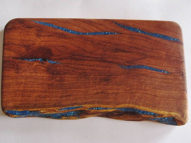 Handcrafted Cutting Board~Live Edge~Unique~One of a Kind~Turquoise Inlay by FBeckWoodworking on Etsy