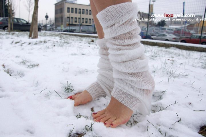 Barefoot in the snow!