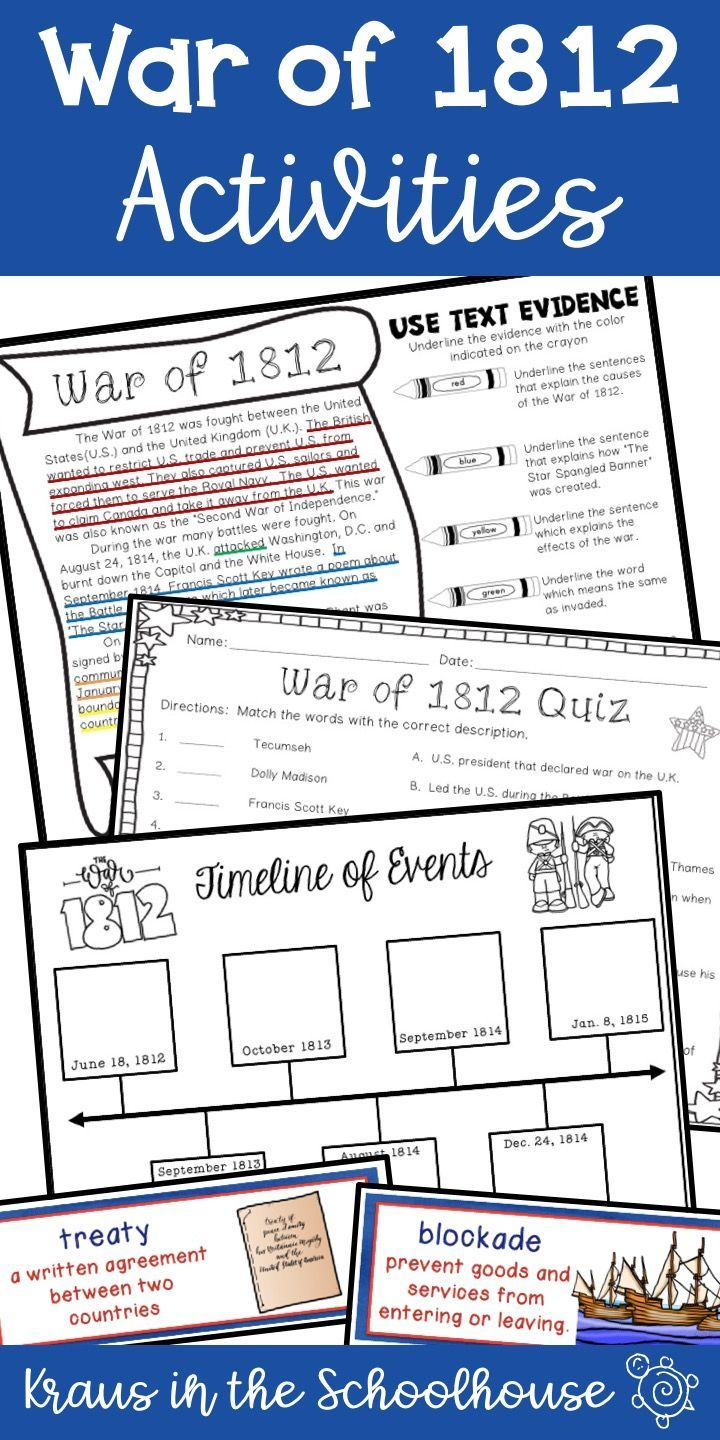 War Of 1812 Research Activities For Kids Helps Students Learn About This Important Event In U S Hist War Of 1812 Reading Graphic Organizers Reading Vocabulary