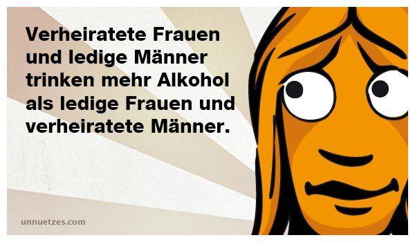 Verheiratete Frauen und ledige Männer trinken mehr Alkohol als ledige Frauen und verheiratete Männer.