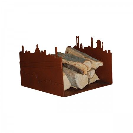 Lacrom - Giulia Bombardieri - Wood Holder In molded and painted perforated sheet metal reproducing the skyline of the city of Bergamo.