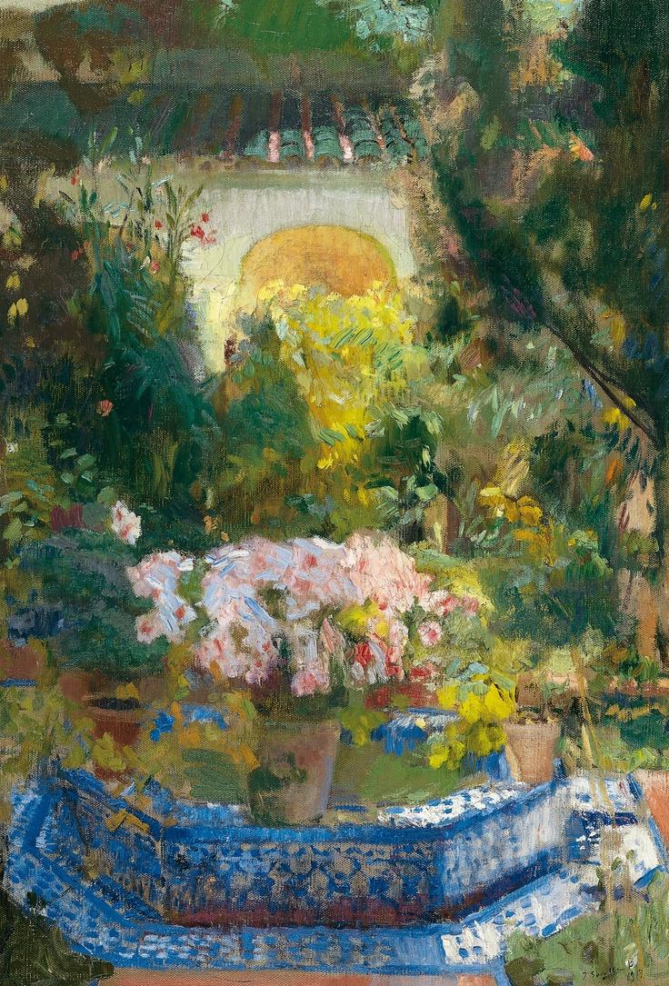 Joaquín Sorolla Bastida (1863-1923). Patio de la casa Sorolla. 1917. Óleo sobre lienzo. Museo Thyssen-Bornemisza, Madrid, Spain.