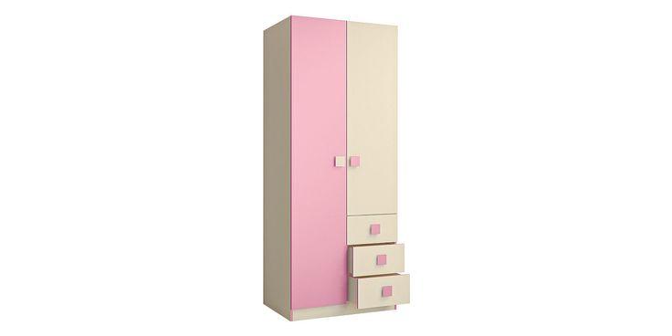 Шкаф распашной двухдверный Нова (бежевый/розовый)