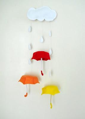 My happy rainy day mobile: Mobiles Tutorials, Happy Raincloud, Crafts Ideas, Rainy Day, Umbrellas Felt, Happy Rainy, Sweet Tide, Felt Mobiles, Crafts Felt