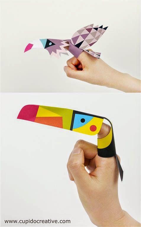 kerajinan anak, membuat sendiri boneka jari berbentuk burung elang dan toucan