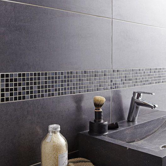 carrelage mural fly a ro en fa ence gris fonc 25 x 60 cm salle de bain pinterest. Black Bedroom Furniture Sets. Home Design Ideas