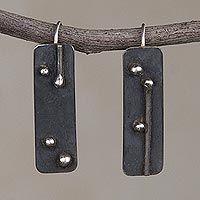 Oxidized Sterling Silver Drop Earrings from Peru