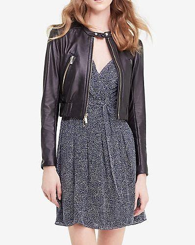 Womens Spring Fashion Soft Black Leather Short Bomber Jacket