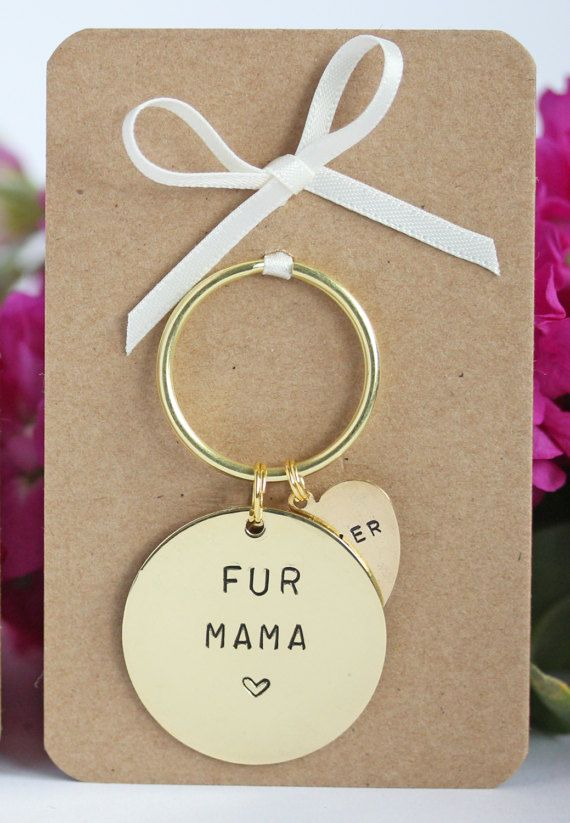 Fur Mama Hand stamped Keyring, personalised with dogs names. Dog Lover Gift