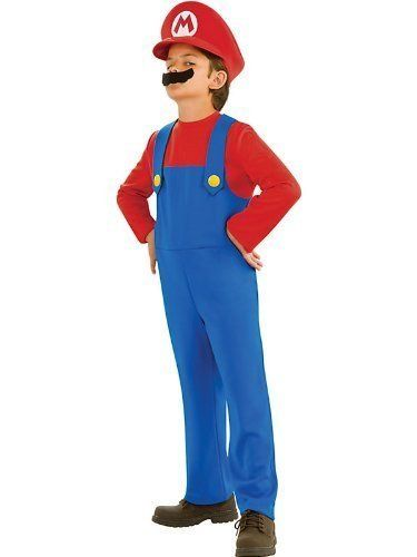 Super Mario Costume - Toddler. Super Mario costume includes jumpsuit, Mario hat and moustache. The child Super Mario costume comes in sizes Toddler, Medium, Small, Large. This Super Mario costume is an officially licensed Mario Brothers costume. Super Mario Brothers inflatable mallet sold separately from this Super Mario costume. Please note: This item's color may vary due to inherent manufacturing variations or your computer monitor's color settings. The item you receive will be identical…