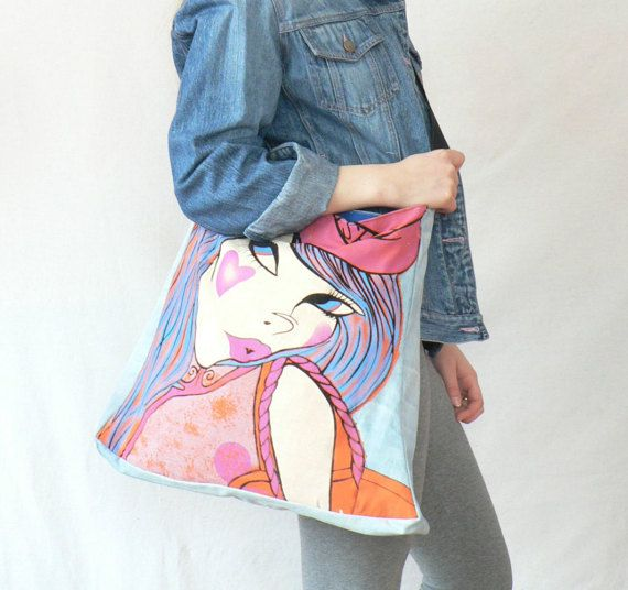 Colorful asymmetrical aplication hippie boho recycled bag. Made from recycled blu denim and cotton jersey. Fasten on magnet. Managed belt on sholder. measurements: 16 x16,5 in / 41 x 42 cm