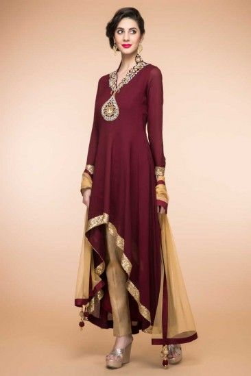 ecfe29354f Maroon Crepe And Silk Trail Cut Anarkali Suit With Cigarette Pant - 1837