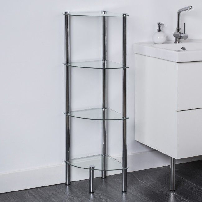 Add extra storage anywhere with these modern and stylish Space Logic glass shelves. Easy to assemble stainless steel structure securely holds glass shelves.