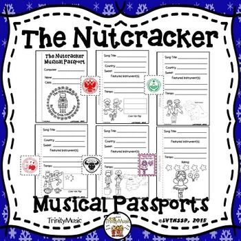 "Have your students keep track (and rate) the songs from Tchaikovsky's Nutcracker with this fun interactive ""worksheet"" that's a passport. The can also keep track of tempo, featured instruments and form. (Click on the ""Preview"" to see the types of pages included.)There are two versions of a passport cover and at least three versions of pages for the songs (listed below) for you to choose from."