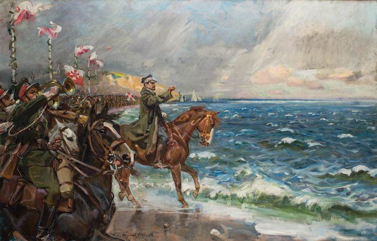 WOJCIECH KOSSAK (1856 - 1942)  ZAŚLUBINY POLSKI Z MORZEM, 1930   olej, płótno / 111 x 170 cm
