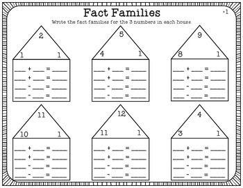 Fact Families Worksheet Pack [FULL SET 1-9 ADDITION