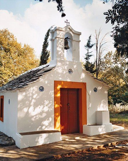 A minuscule church on the outskirts of Skopelos, an archetypal Greek village in the Northern Sporades