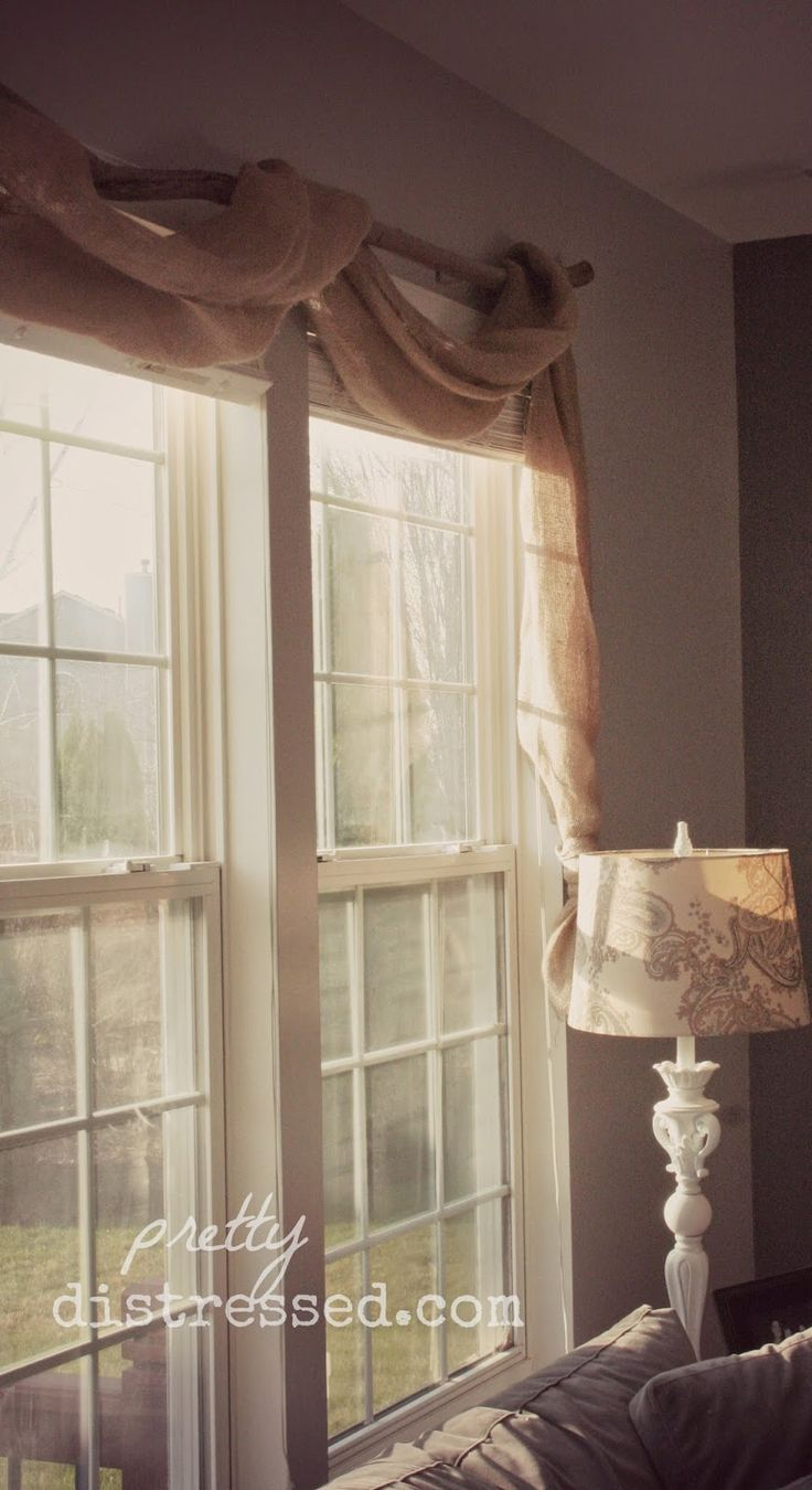 Burlap window treatment for under $15. Burlap curtain. Burlap valance. Country.