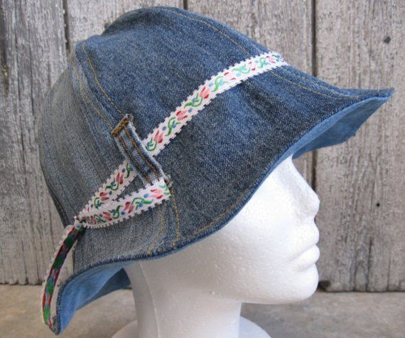Repurposed Jeans Cloche Hat- still available!