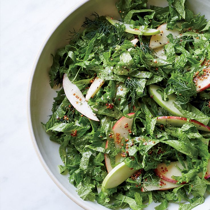 Mustard Greens with Apple Cider-Dijon Dressing  This supereasy salad is made in one bowl and in one step. Get the recipe at Food & Wine.