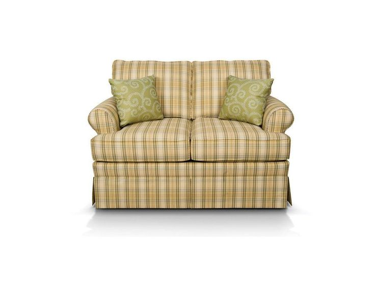 Create a comfortable traditional atmosphere in your living area with England Furniture's Grace loveseat. This 2-cushion loveseat has a small roll arm, a classic skirt, and a set of throw pillows. If you like the loveseat, you'll love the Grace stationary and gliding loveseats, stationary and gliding chairs, ottoman, full sleeper and sofa! See William for the same sofa in a solid or print.