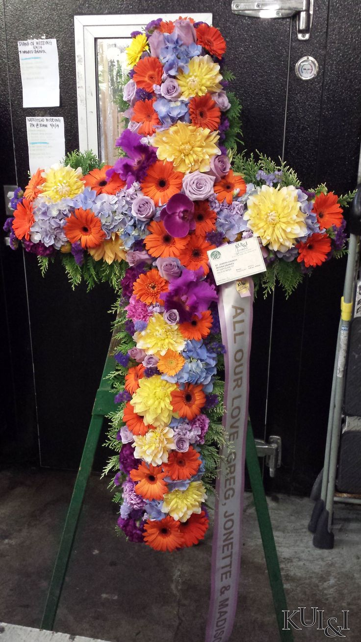 76 best sympathy flower arrangements images on pinterest colorful funeral cross kuiandiflorist kuiandi izmirmasajfo Choice Image
