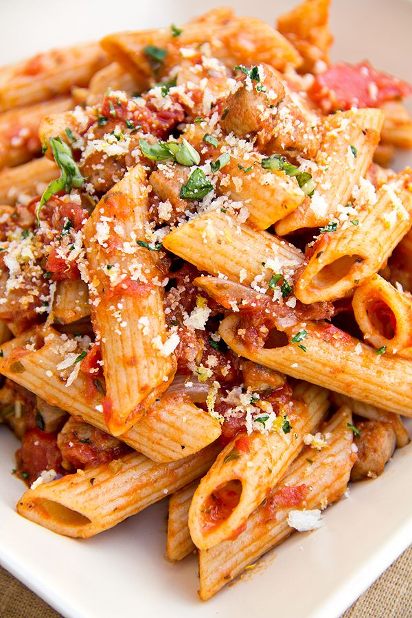 Whole Wheat Penne in Roasted Garlic Tomato Sauce with Spicy Italian Chicken Sausage topped with Parmesan-Panko Breadcrumbs