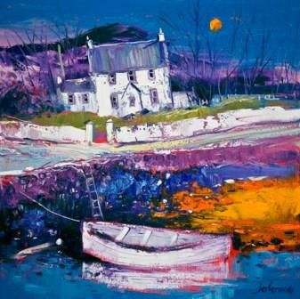 John Lowrie Morrison (Jolomo) - Beached Clinker At Croig from the www.redraggallery.co.uk online limited edition prints gallery.
